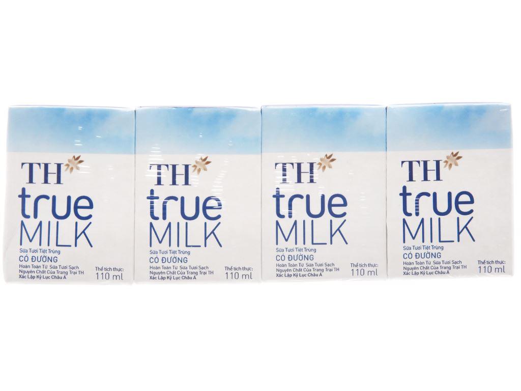 Lốc 4 hộp sữa tươi tiệt trùng có đường TH true MILK 110ml 2