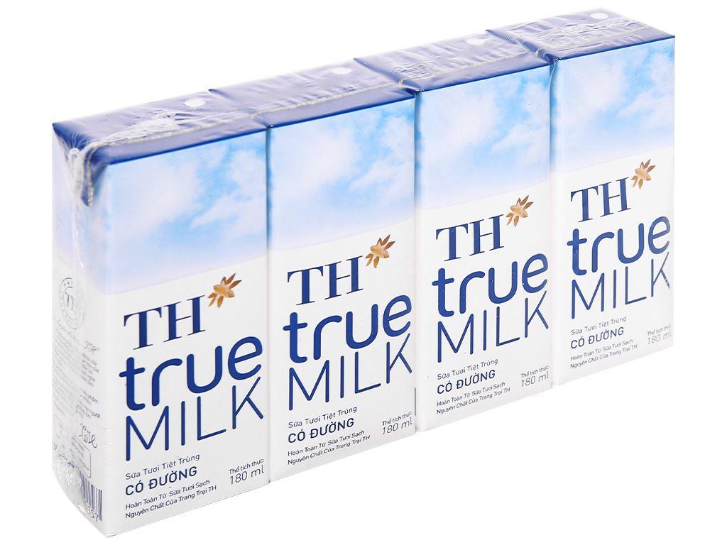 Lốc 4 hộp sữa tươi tiệt trùng có đường TH true MILK 180ml 1