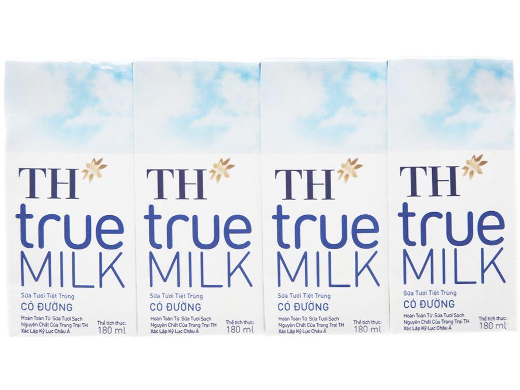 Lốc 4 hộp sữa tươi tiệt trùng có đường TH true MILK 180ml 2