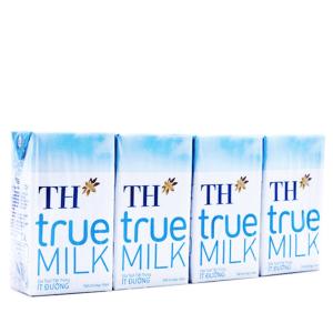 Lốc 4 hộp sữa tươi tiệt trùng TH true MILK ít đường 110ml