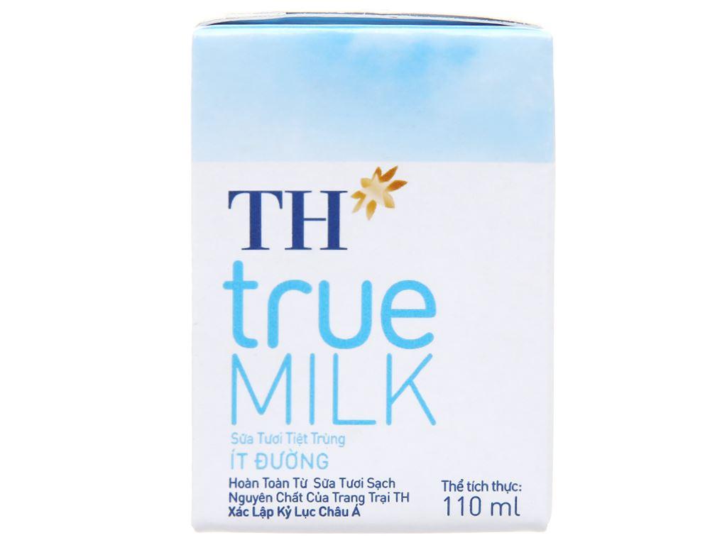 Lốc 4 hộp sữa tươi tiệt trùng ít đường TH true MILK 110ml 2
