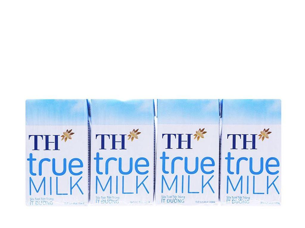 Lốc 4 hộp sữa tươi tiệt trùng ít đường TH true MILK 110ml 1