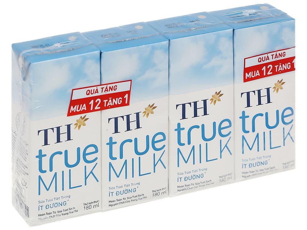 Lốc 4 hộp sữa tươi tiệt trùng ít đường TH true MILK 180ml 1