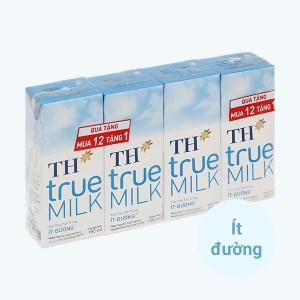 Lốc 4 hộp sữa tươi tiệt trùng ít đường TH true MILK 180ml