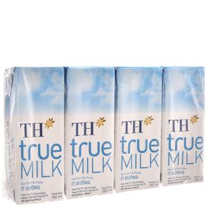 Lốc 4 hộp sữa tươi tiệt trùng TH true MILK ít đường 180ml