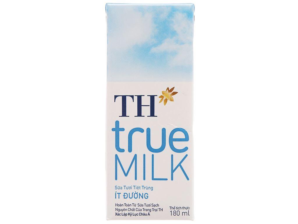 Lốc 4 hộp sữa tươi tiệt trùng ít đường TH true MILK 180ml 2