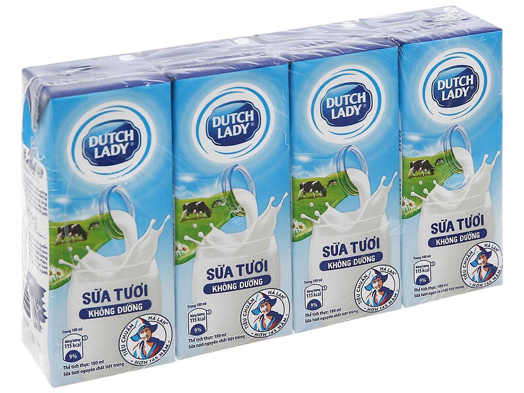 Lốc 4 hộp sữa tươi tiệt trùng không đường Dutch Lady 180ml 1