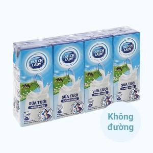 Lốc 4 hộp sữa tươi tiệt trùng không đường Dutch Lady 180ml