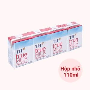Lốc 4 hộp sữa tươi tiệt trùng hương dâu TH true MILK 110ml