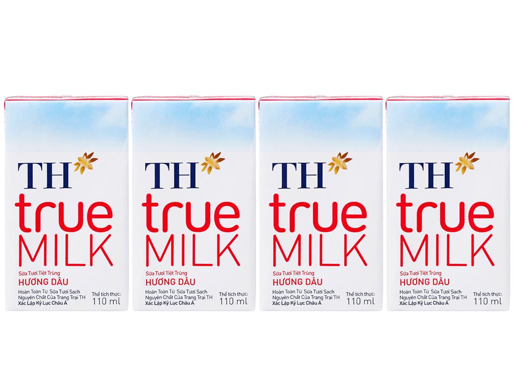 Lốc 4 hộp sữa tươi tiệt trùng TH true MILK hương dâu 110ml 1