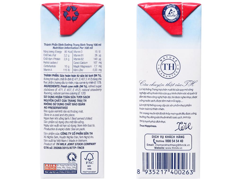 Lốc 4 hộp sữa tươi tiệt trùng TH true MILK hương dâu 110ml 4