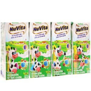 Lốc 4 hộp sữa tiệt trùng có đường Nuvita 180ml