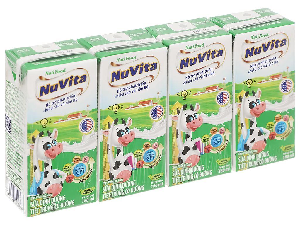 Lốc 4 hộp sữa tiệt trùng có đường Nuvita 180ml 1