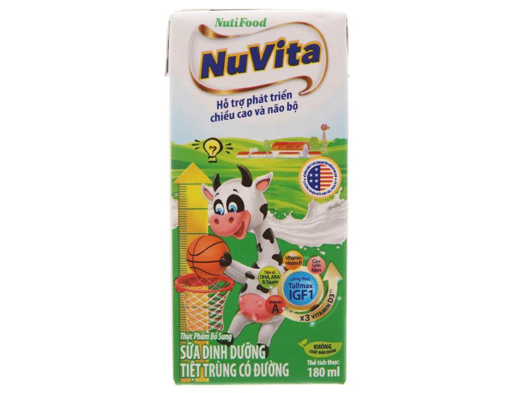 Lốc 4 hộp sữa tiệt trùng có đường Nuvita 180ml 2