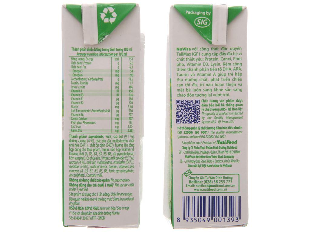 Lốc 4 hộp sữa tiệt trùng có đường Nuvita 180ml 4