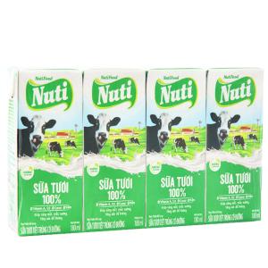 Lốc 4 hộp sữa tươi tiệt trùng Nuti Sữa tươi 100% có đường hộp 180ml