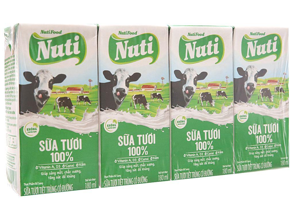 Lốc 4 hộp sữa tươi có đường Nuti Sữa tươi 100% 180ml 1