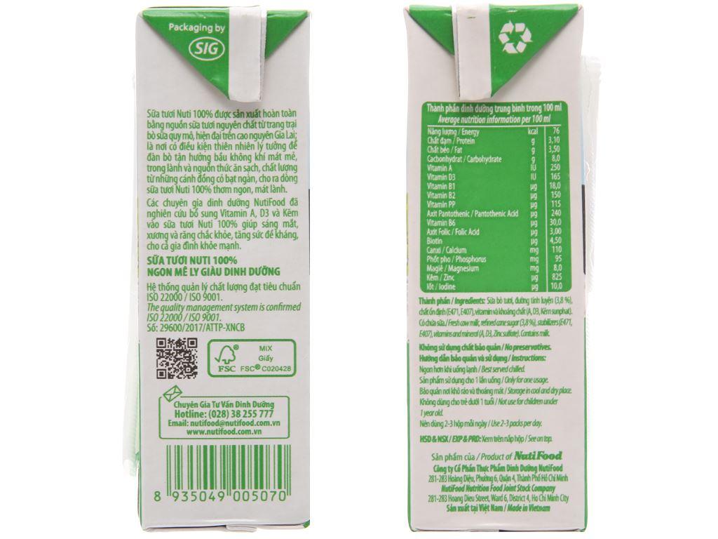 Lốc 4 hộp sữa tươi có đường Nuti Sữa tươi 100% 180ml 4