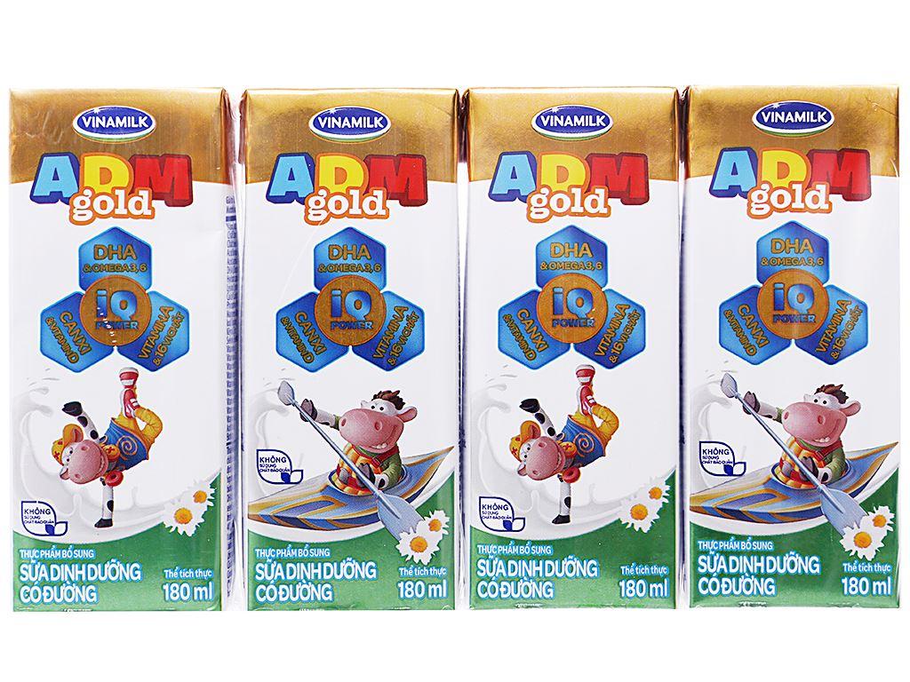 Lốc 4 hộp sữa dinh dưỡng Vinamilk ADM Gold có đường 180ml 1