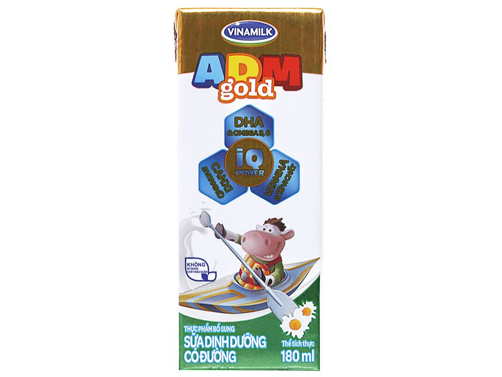 Lốc 4 hộp sữa dinh dưỡng có đường Vinamilk ADM Gold 180ml 2