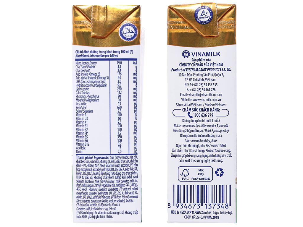 Lốc 4 hộp sữa dinh dưỡng Vinamilk ADM Gold có đường 180ml 4