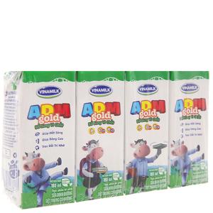 Lốc 4 hộp sữa tiệt trùng Vinamilk ADM Gold có đường 180ml