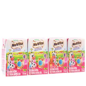 Lốc 4 hộp sữa tiệt trùng hương dâu Nuvita hộp 110ml