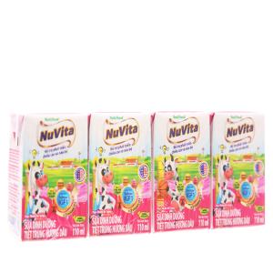 Lốc 4 hộp sữa tiệt trùng Nuvita hương dâu hộp 110ml