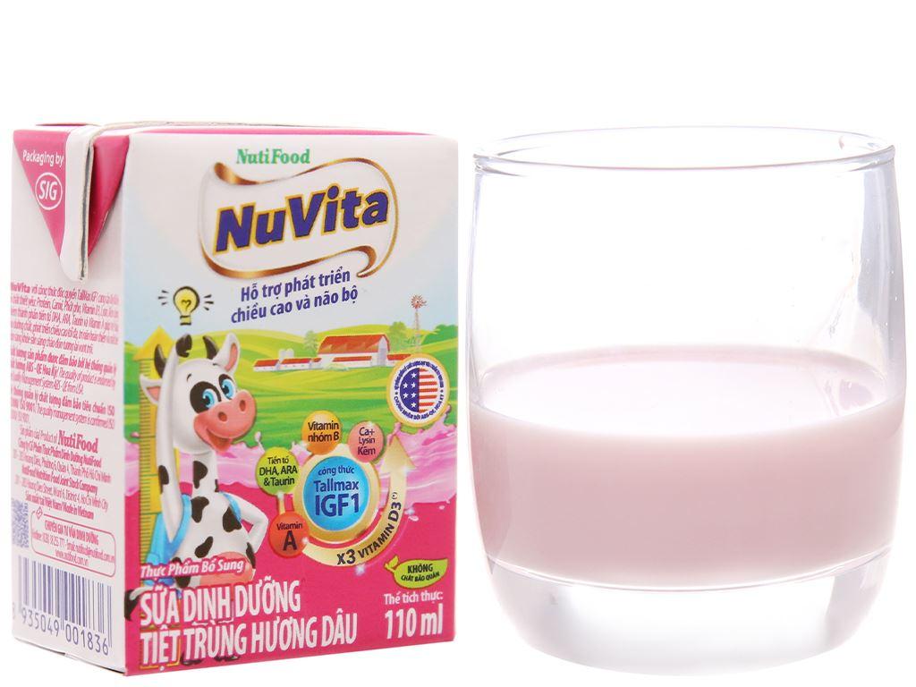 Lốc 4 hộp sữa tiệt trùng Nuvita hương dâu hộp 110ml 2