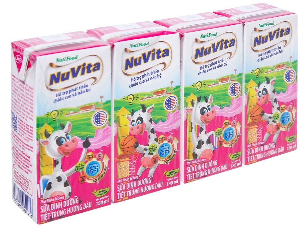 Lốc 4 hộp sữa tiệt trùng hương dâu Nuvita 180ml 1