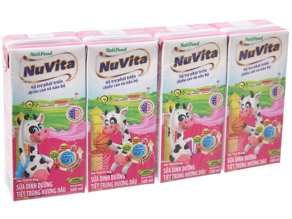 Lốc 4 hộp sữa tiệt trùng hương dâu Nuvita 180ml 2