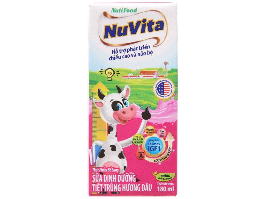 Lốc 4 hộp sữa tiệt trùng hương dâu Nuvita 180ml 3
