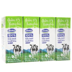 Lốc 4 hộp sữa tươi tiệt trùng Vinamilk Tách béo 1/3 có đường 180ml