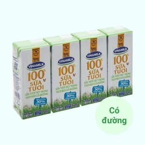 Lốc 4 hộp sữa tươi tách béo có đường Vinamilk 180ml