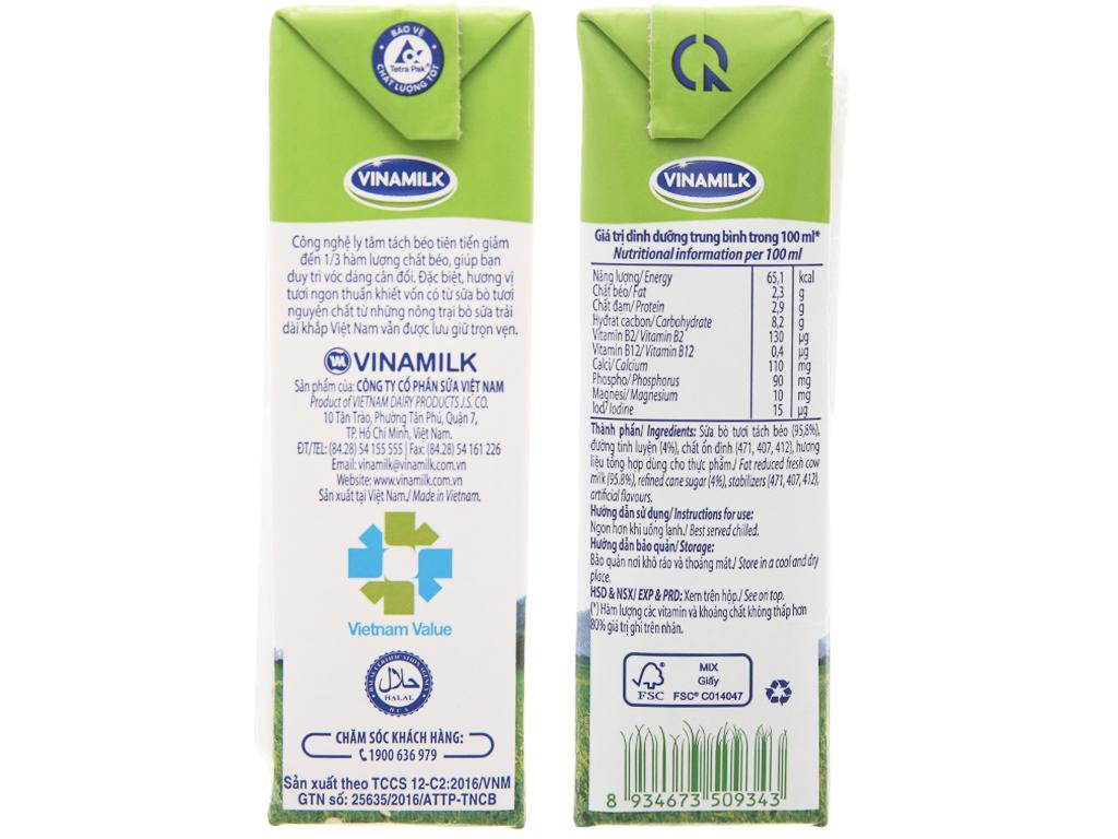 Lốc 4 hộp sữa tươi tách béo có đường Vinamilk 100% Sữa Tươi 180ml 5