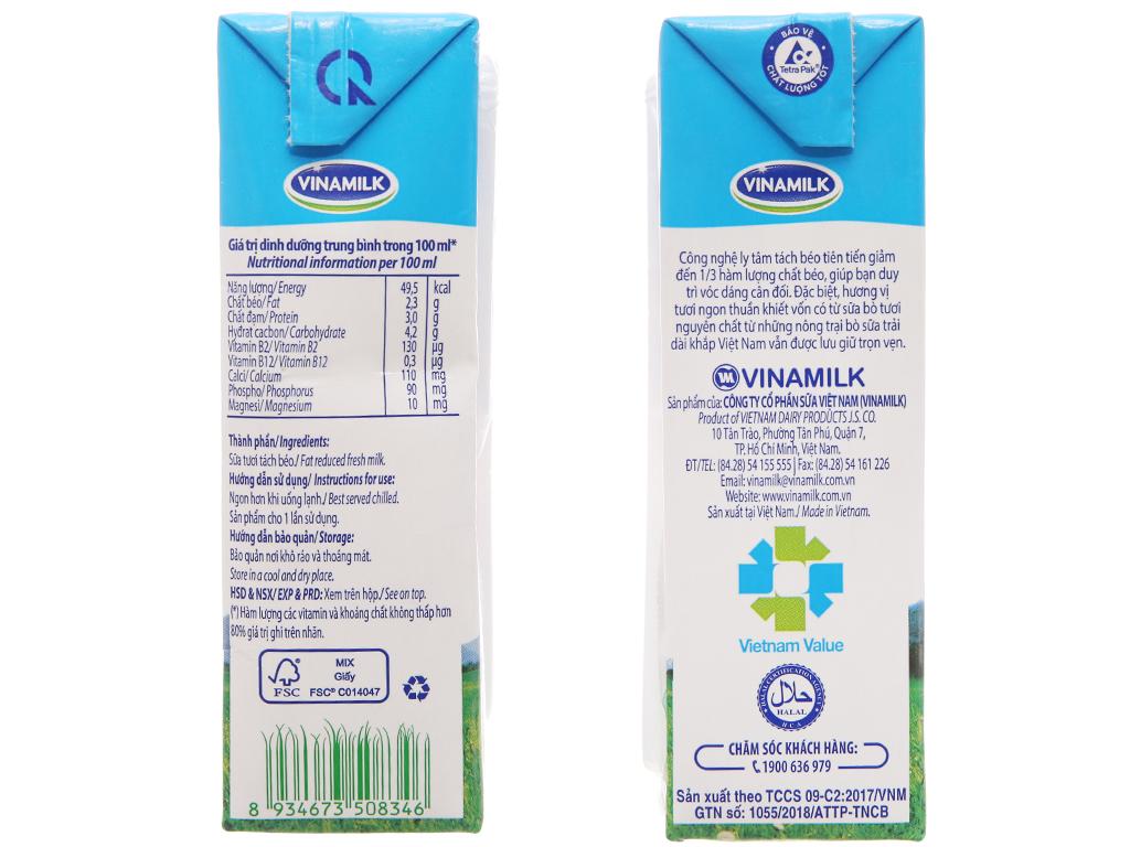 Lốc 4 hộp sữa tươi tách béo không đường Vinamilk 100% Sữa Tươi 180ml 6