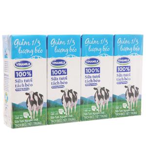 Lốc 4 hộp sữa tươi tách béo không đường Vinamilk 100% Sữa Tươi 180ml