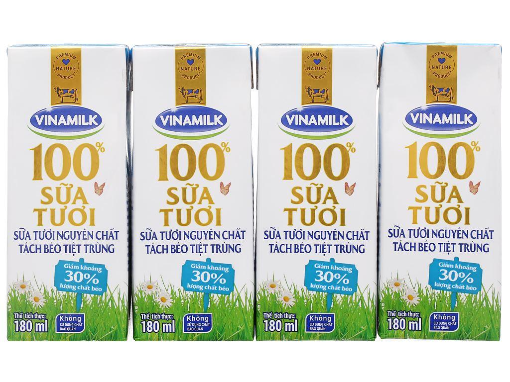 Lốc 4 hộp sữa tươi tách béo không đường Vinamilk 100% Sữa Tươi 180ml 7