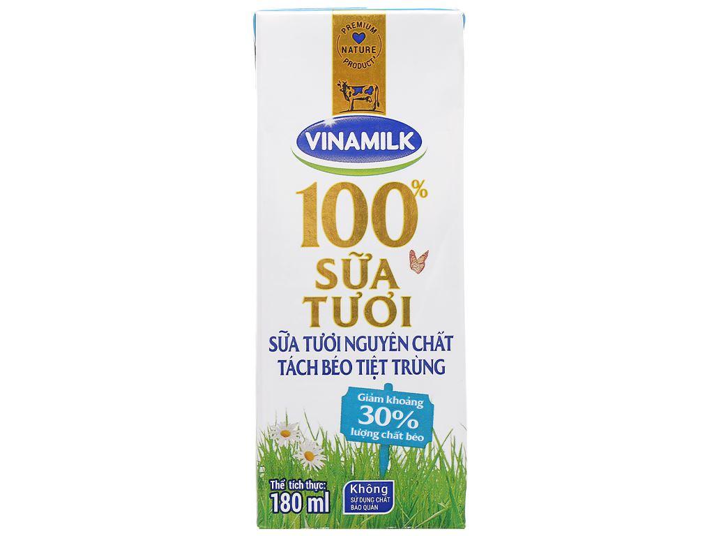 Lốc 4 hộp sữa tươi tách béo không đường Vinamilk 100% Sữa Tươi 180ml 9