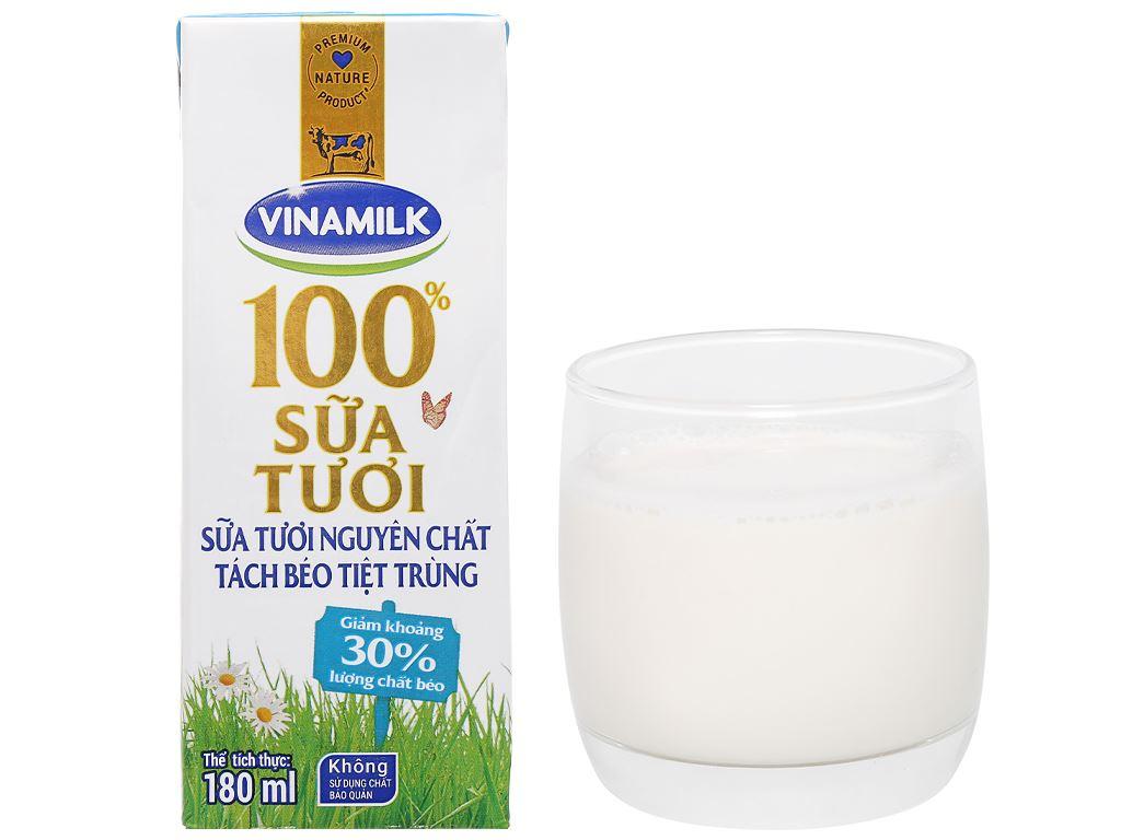 Lốc 4 hộp sữa tươi tách béo không đường Vinamilk 180ml 16