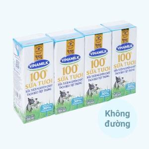 Lốc 4 hộp sữa tươi tách béo không đường Vinamilk 180ml