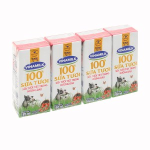 Lốc 4 hộp sữa tươi hương dâu Vinamilk 100% Sữa Tươi 180ml
