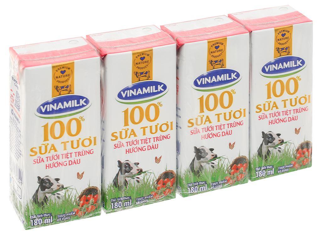 Lốc 4 hộp sữa tươi hương dâu Vinamilk 180ml 1