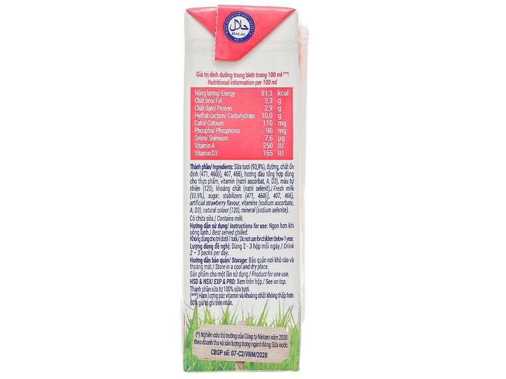 Lốc 4 hộp sữa tươi hương dâu Vinamilk 180ml 8