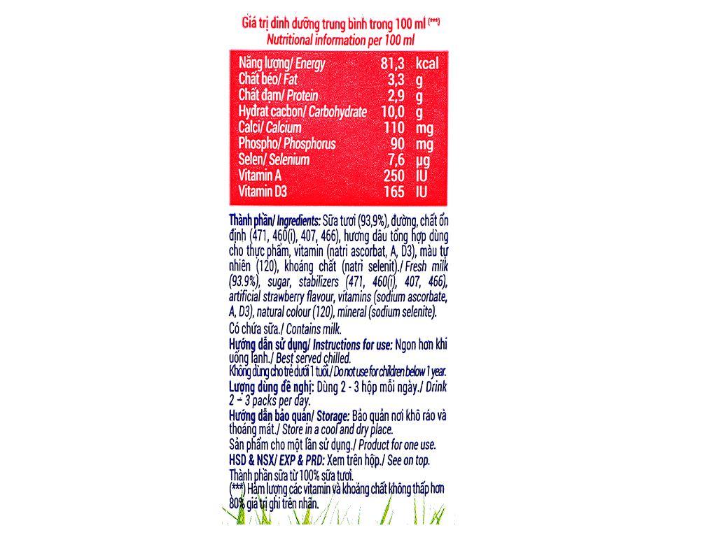 Lốc 4 hộp sữa tươi hương dâu Vinamilk 180ml 9