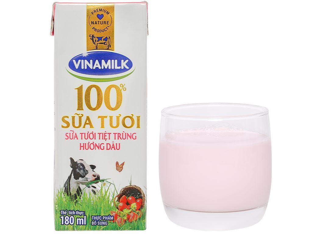 Lốc 4 hộp sữa tươi hương dâu Vinamilk 180ml 11