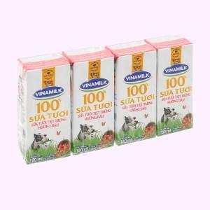 Lốc 4 hộp sữa tươi hương dâu Vinamilk 180ml