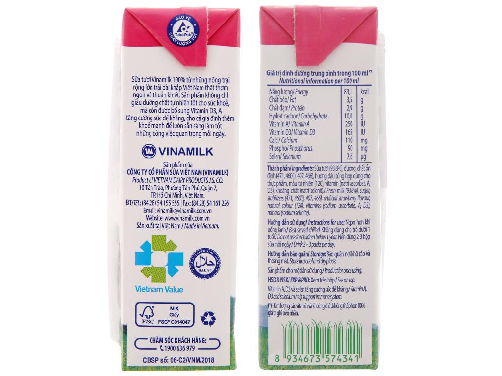 Lốc 4 hộp sữa tươi tiệt trùng Vinamilk 100% Sữa Tươi hương dâu 180ml 5