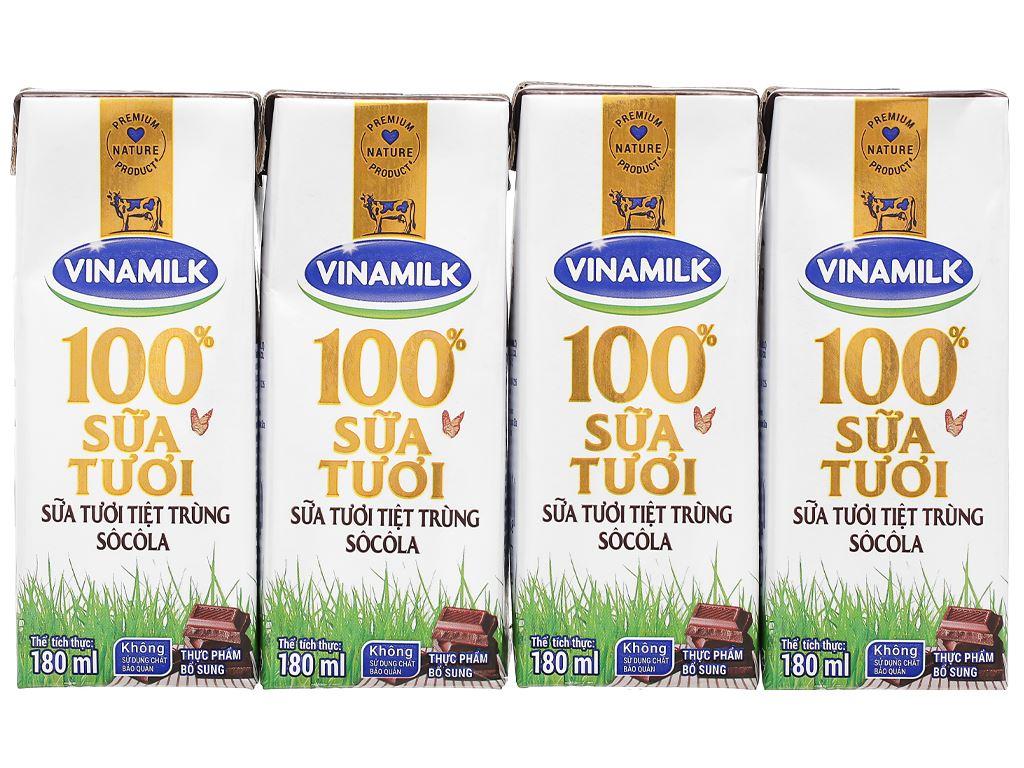 Lốc 4 hộp sữa tươi socola Vinamilk 100% Sữa Tươi 180ml 7