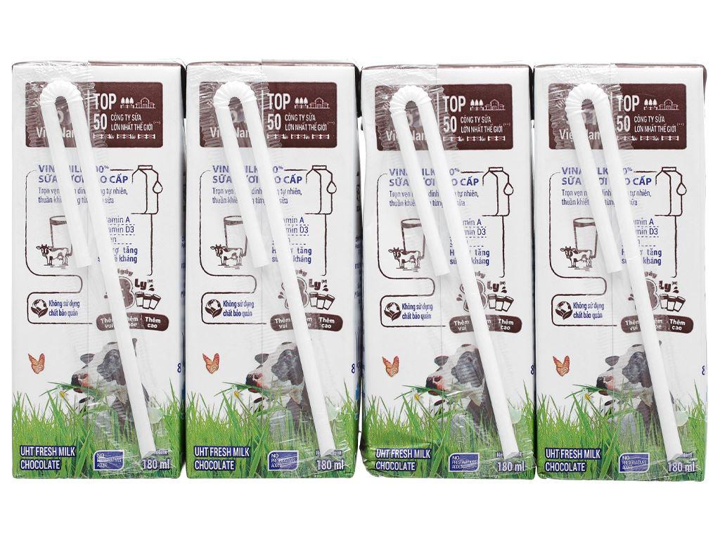Lốc 4 hộp sữa tươi socola Vinamilk 100% Sữa Tươi 180ml 8